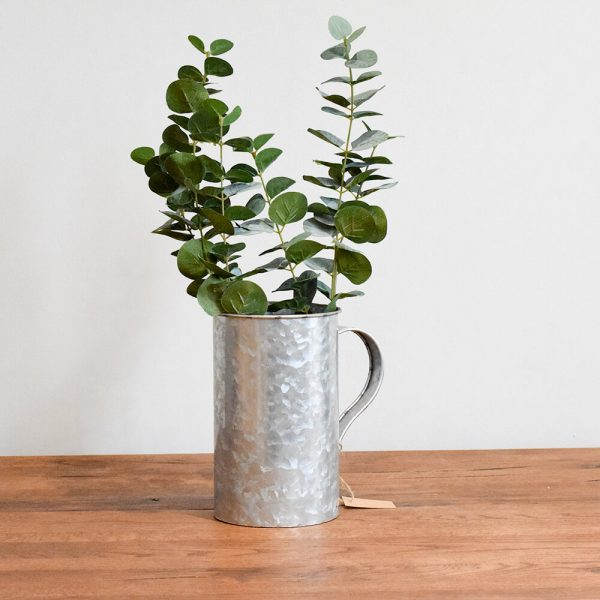 Zinc metal plant pot with artificial eucalyptus plant