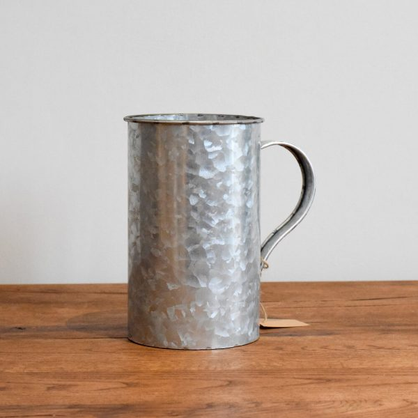 Zinc metal plant pot with curved handle