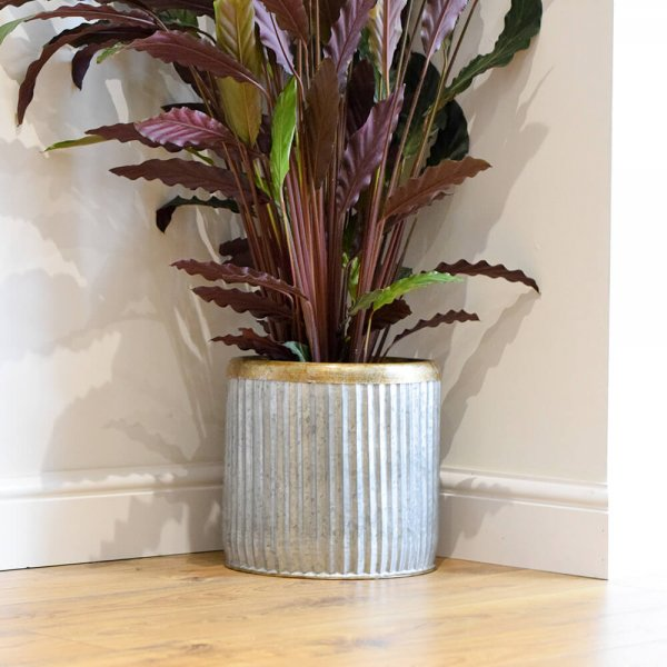 Large Distressed Indoor Metal Plant Pot