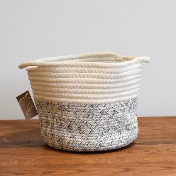 small cotton rope storage basket grey and white