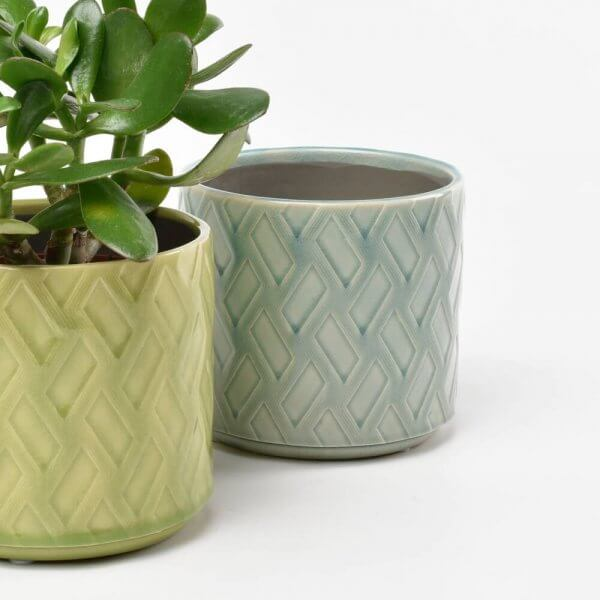 Barcelona Celadon Decorative Indoor Ceramic Plant Pot - Dark Grey Lifestyle