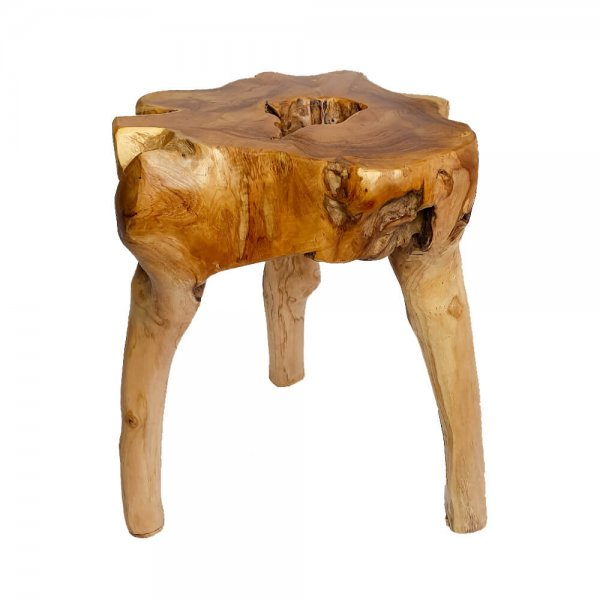 Natural teak wood sidetable comfy stool main furniture
