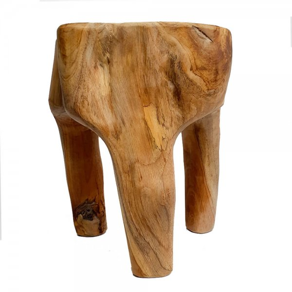 Teak root solid natural wood stool lamp table main v3